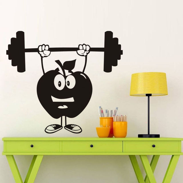 funny apple dumbbell wall stickers cartoon gym wall decals removable