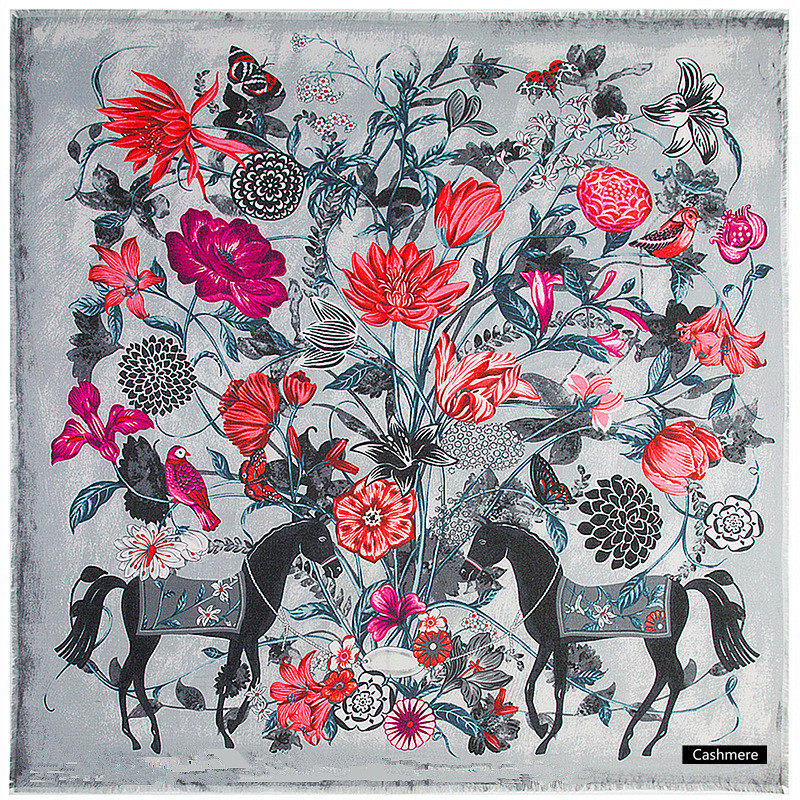 2019 New Shawls   Scarf   Luxury Brand   Wraps   Women Winter Cashmere   Scarf   Flowers And Fine Horse Print 130cm Large Square   Scarves