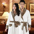 Male winter thickening robe long design male sleepwear leopard print coral fleece lovers bathrobe female flannel