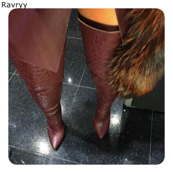 2018 Wine Red Leather Long Boots Zipper Woman Over-the-knee Boots Pointed Toe Thin Heel Autumn Winter Fashion Female Shoes2018 Wine Red Leather Long Boots Zipper Woman Over-the-knee Boots Pointed Toe Thin Heel Autumn Winter Fashion Female Shoes