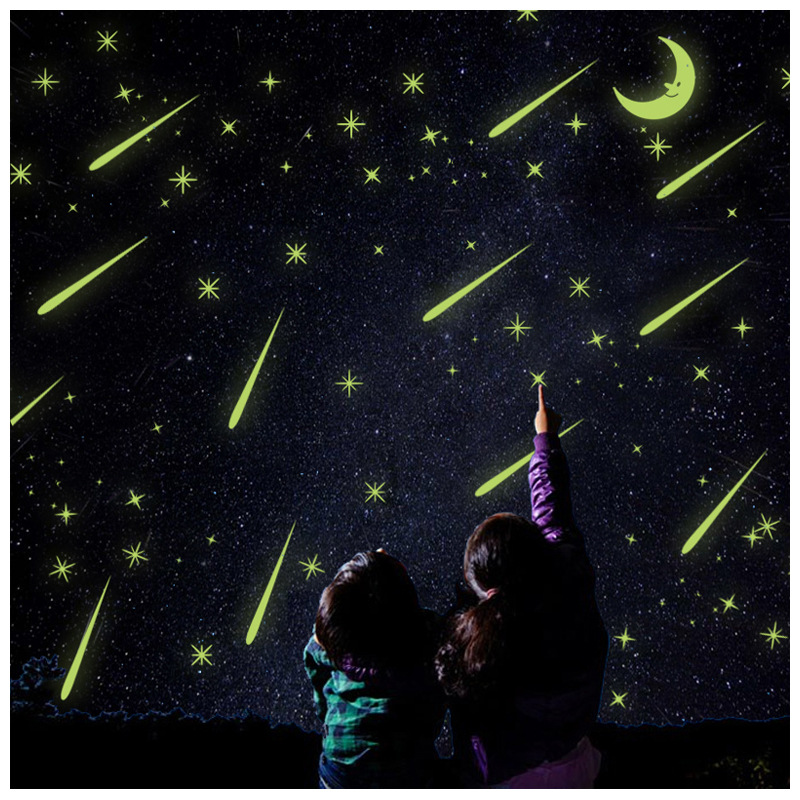 Zs Sticker Meteor Shower Moon Glow in the Dark Stickers Fluorescent Home Decor for Kids Room Decal