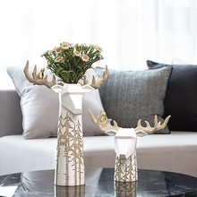 Modern Nordic Elk Flower Arrangement Table Living Room Coffee Cabinet Decoration Carved Craft Accessories