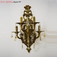 Большой 5 ламп Античный желтый Бронзовый Хрустальные настенные бра ламповый светильник для спальни гостиной Хрустальная подвеска настенны