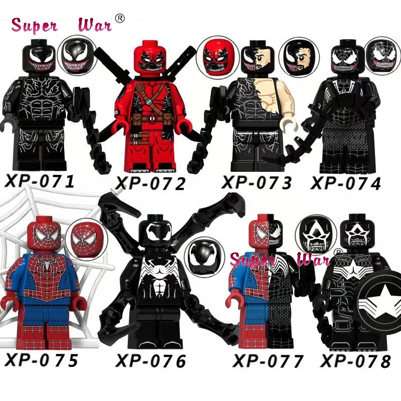 Blocks Strong-Willed Single Legoing Venom Marvel Super Heroes Woman Ghost Rider Deadpool Wolverine Legoing Figures Building Blocks Toys For Children Model Building