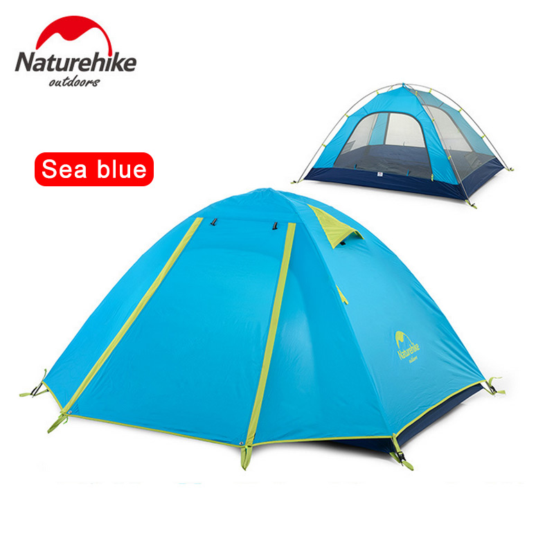 NatureHike 2 3 4 Person Camping Tent Double Layer Outdoor Camp Hiking Travel Large Family Tent high quality outdoor 2 person camping tent double layer aluminum rod ultralight tent with snow skirt oneroad windsnow 2 plus