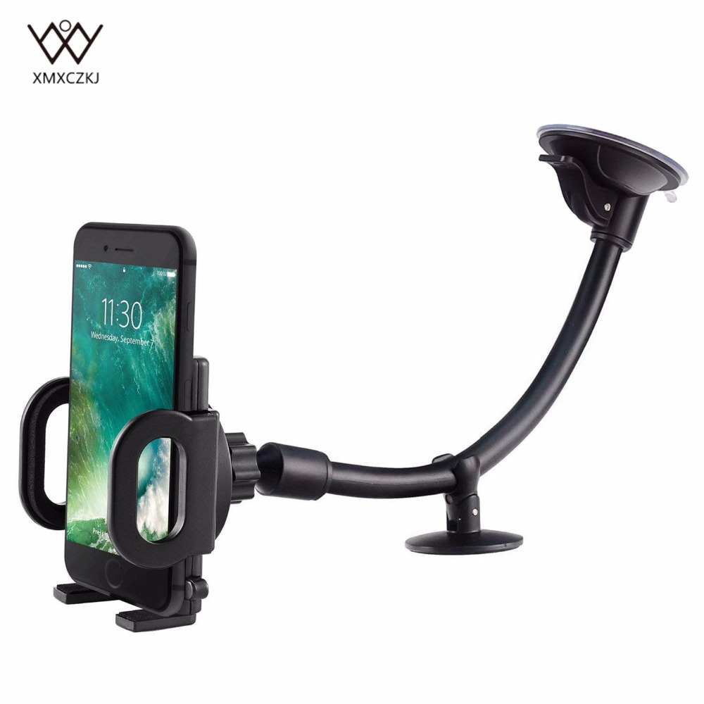 Long Arm Universal Windshield Dashboard Cell Phone Holder with Sticky Pad,Black B/&J