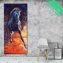 Лучший!  3 Шт. Бегущая Лошадь на Холсте Декоративные Картины Стены Плакат Современные Настенные Панно для