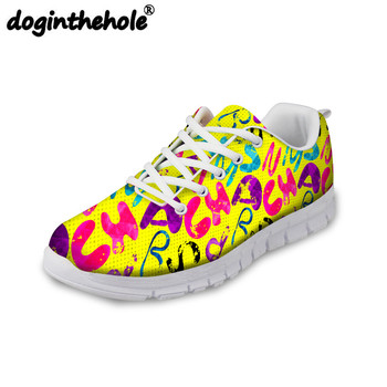 doginthehole Summer Sneaker for Women Letter Graffiti Pattern Running Shoes Girls Outdoor Sport Shoes Breathable Flats Shoes New