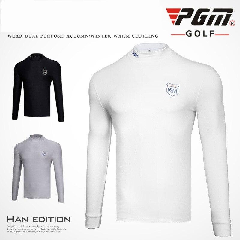 PGM Golf Primer Shirt Men's Long Sleeved T-shirt Velvet Tights Spring Sport Clothing For Men 3 Color Black White Grey Size S-XXL