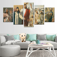 Modular wall art 5 panel European classical religion Jesus canvas painting poster study home decoration mural