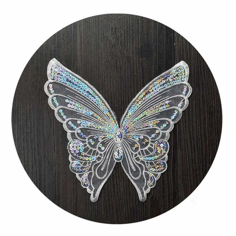 Summer Euclidean yarn sequins butterfly embroidery patch large no glue embroidery paste skirt decoration