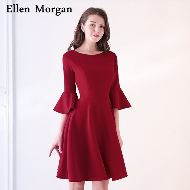 Burgundy Short Mother Of The Bride Groom Dresses For Summer Wedding Party Gowns With Sleeves Jersey
