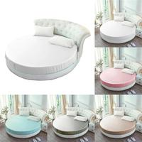 Soft Silk Mattress Cover Solid Round Sheet Bed Protector Bedspread Mattress Topper Fitted mattress Cover For Hotel Home