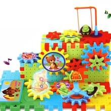 Электронная Музыка Светодиодный свет пластиковые строительные блоки игрушки механические детали DIY кретивная обучающая игрушка для детей подарок на день рождения