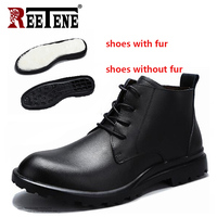 REETENE New Handmade Men Leather Winter Boots High Quality Warm Snow Men Boots Ankle Boots For Men Business Dress Shoes Men