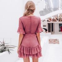 Vestido capas gasa escote V textura verano 2