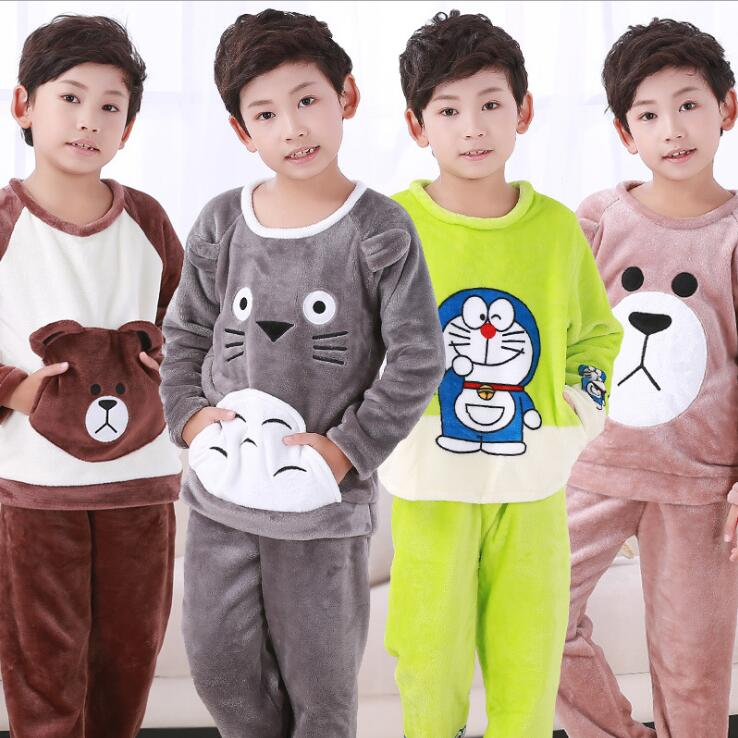 b8cbe706e7 Autumn Winter Children Fleece Pajamas Warm Flannel Sleepwear Girls  Loungewear Coral Fleece Kids Pijamas Homewear Pyjama WIN581