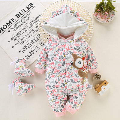 BibiCola Winter Baby Rompers Cotton Baby Hooded Snowsuit Jumpsuit Long Sleeve Thick Warm Baby Girls Boy Romper Newborn Clothing