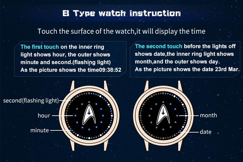 STAR TREK Models Spock Starfleet Spock LED waterproof touch screen watch hot tv series Christmas Gift 6