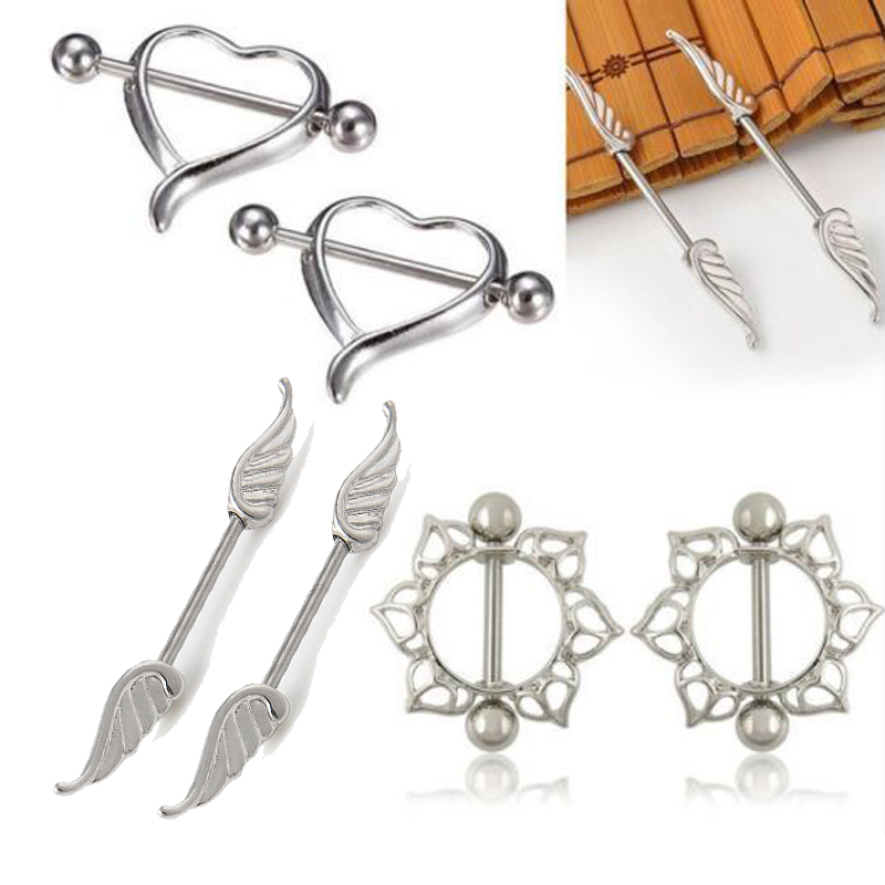 Nipple-Ring Jewelry Flower-Barbell Heart-Wing Body-Piercing Silver-Color Girls 1pair