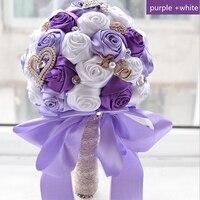 Sıcak mor ve beyaz düğün buketleri kristal nedime düğün buketleri düğün dekorasyon için