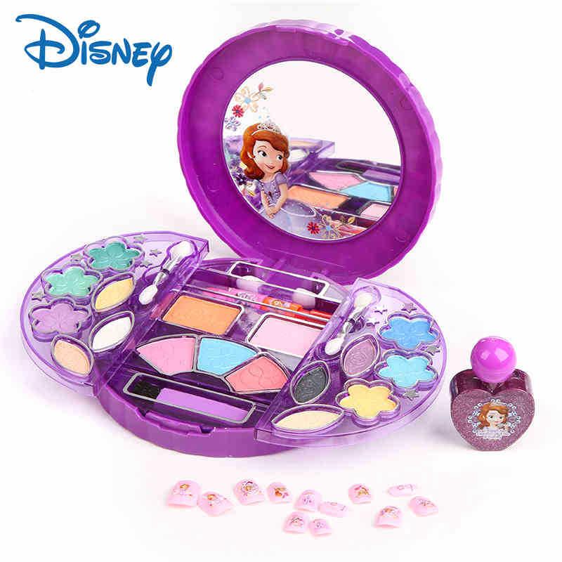 Disney princess kids makeup toys Children's Cosmetic Makeup Set Princess Makeup Box Girl Lipstick Nail Polish Eye Shadow Toy
