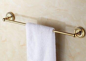цена на Wall Mounted Polished Gold Color Brass Bathroom Single Towel Bar Towel Rail Holder Bathroom Accessory mba603