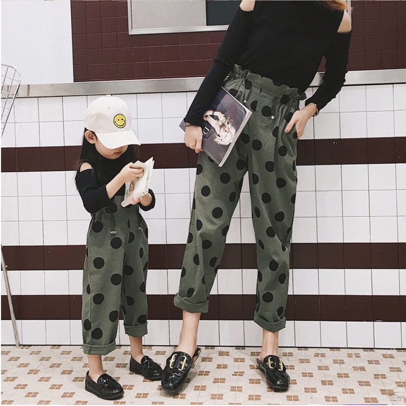 Newest Family Matching Pants Mother Girls Big Wave Waist Casual Trousers Mom And Me Harem Pant Fashion Polka Dot Family Pants