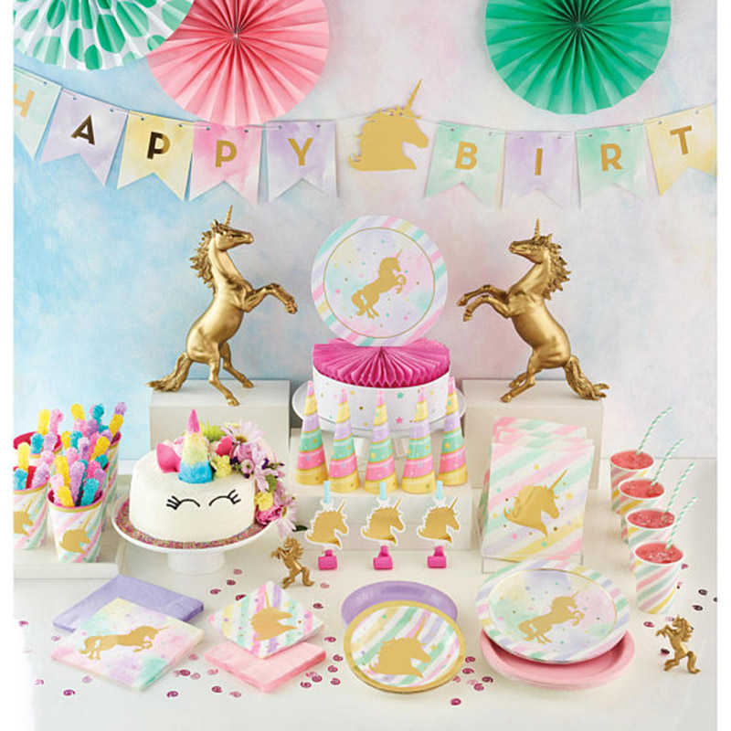 1set Gold Unicorn Party Decor Wedding Birthday Unicorn Theme Paper Cup Napkins Plate Table Cloth Kids Happy Birthday Gifts