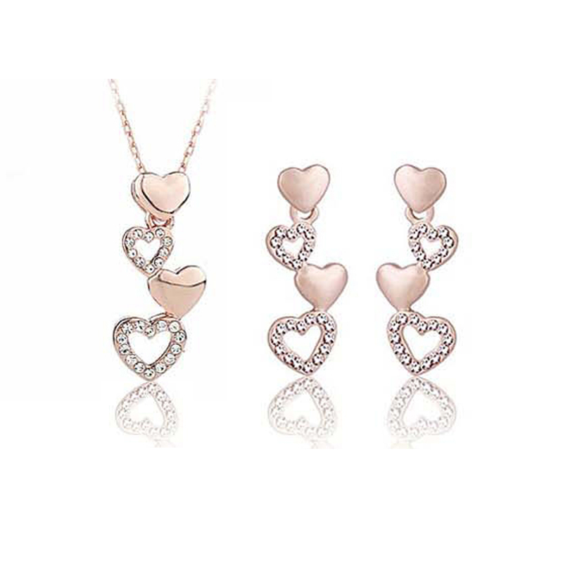 2018 New Arrivals High-quality creative temperament simple luxury Austrian Crystal Goddess - affiliated Set necklace + earrings