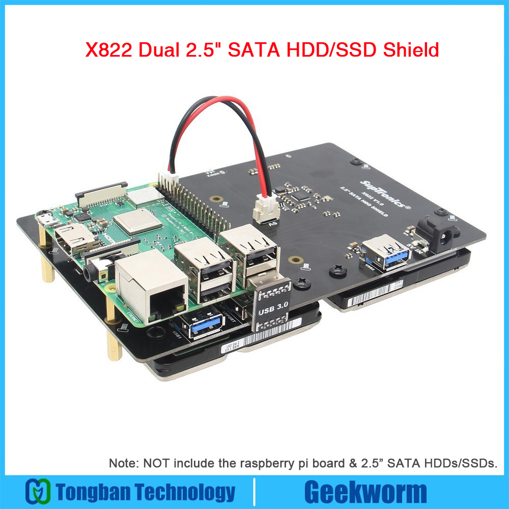 Raspberry Pi ROCK64 X822 Dual 2 5 SATA HDD SSD Shield X822 USB 3 0 Expansion