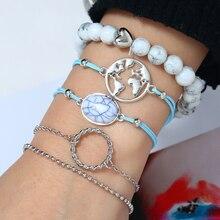 L&H 5PCS/Set Elegant Vintage Bracelets Set Double Thin Blue Link Map For Women Classic Natural Stone Bangles