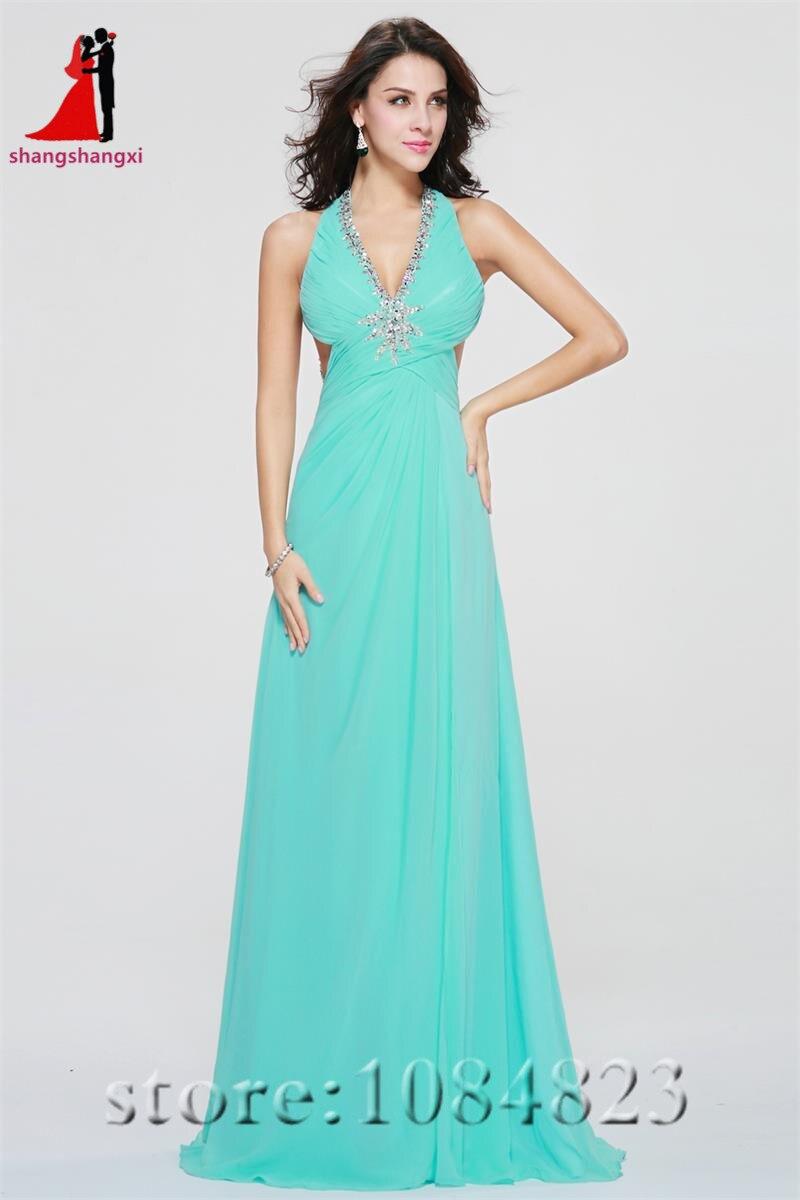Aqua Long Evening Dresses 2017 Halter Backless Beads Plus Size ...