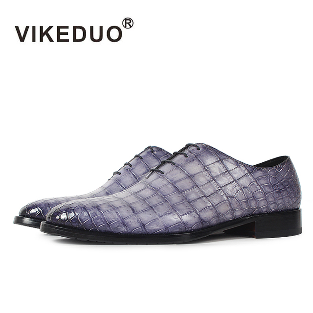 Vikeduo Handmade brand Designer party Wedding Alligator Skin Crocodile shoe Luxury male dress Genuine Leather Mens Oxford Shoes