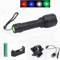 18650 LED Flashlight 2000 lumens C8 Torch T6 Tactical Flash light Camping Hunting Lamp linterna + Mount battery charger Switch