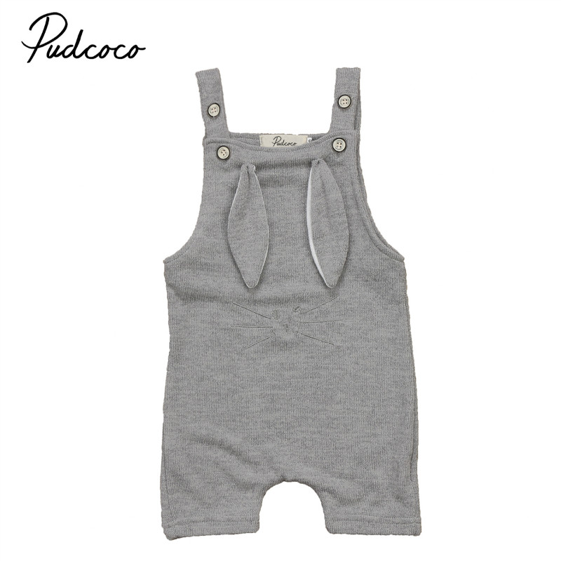 Pudcoco Newborn baby cotton romper lovely Rabbit ears baby boy girl sleeveless baby costume Jumpsuits Roupas Bebe Infant Clothes 2017 baby girl summer romper newborn baby romper suits infant boy cotton toddler striped clothes baby boy short sleeve jumpsuits