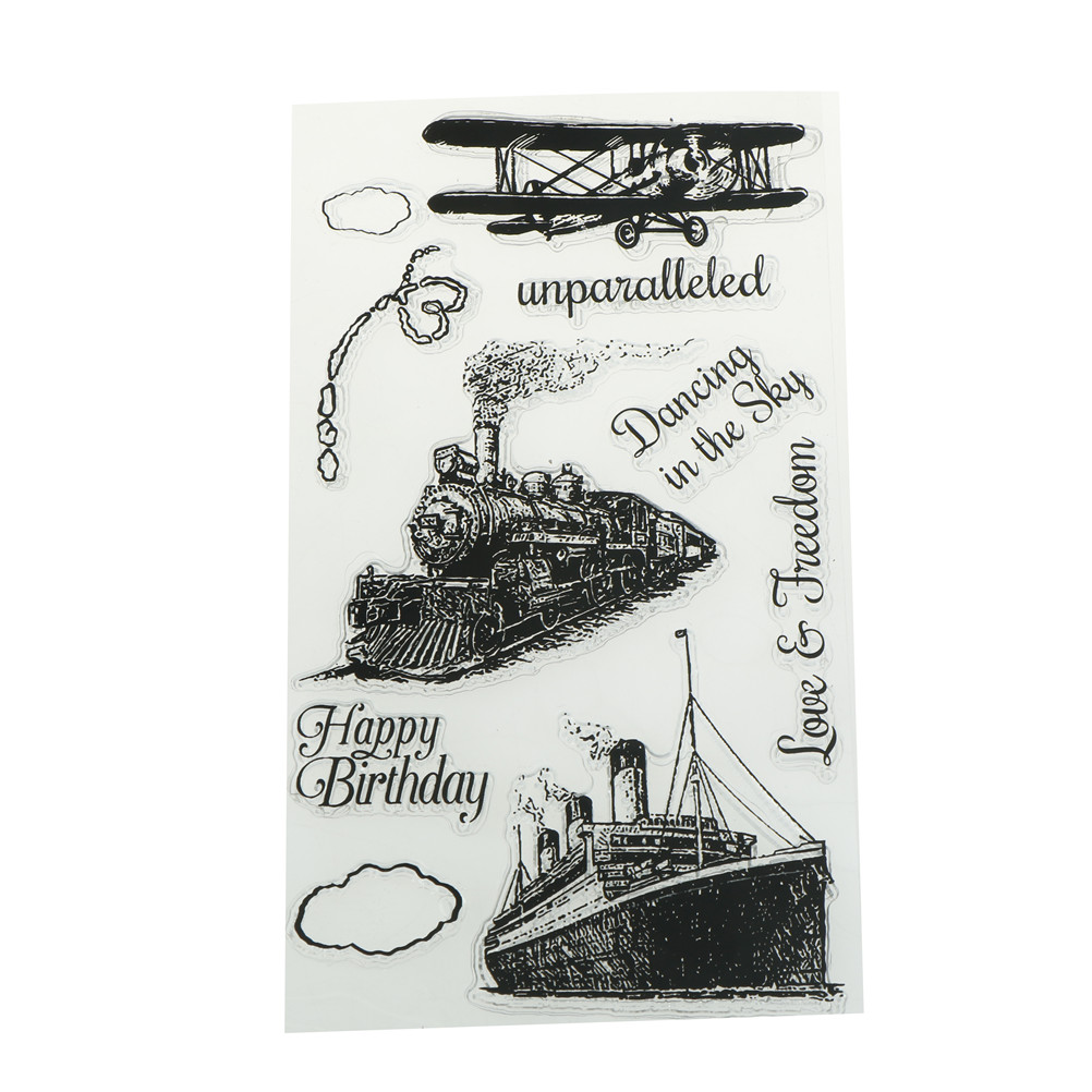 US $1 65 16% OFF|for Scrapbooking Tampons Transparents Seal Background  Stamp Card Making Diy Train plane Ship Rubber Silicone Clear Stamps-in  Stamps