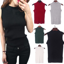 New Spring Summer Basic Knitted Tops T-shirt Women Clothes Turtleneck Sleeveless Slim Vest Short Knitwear  -MX8