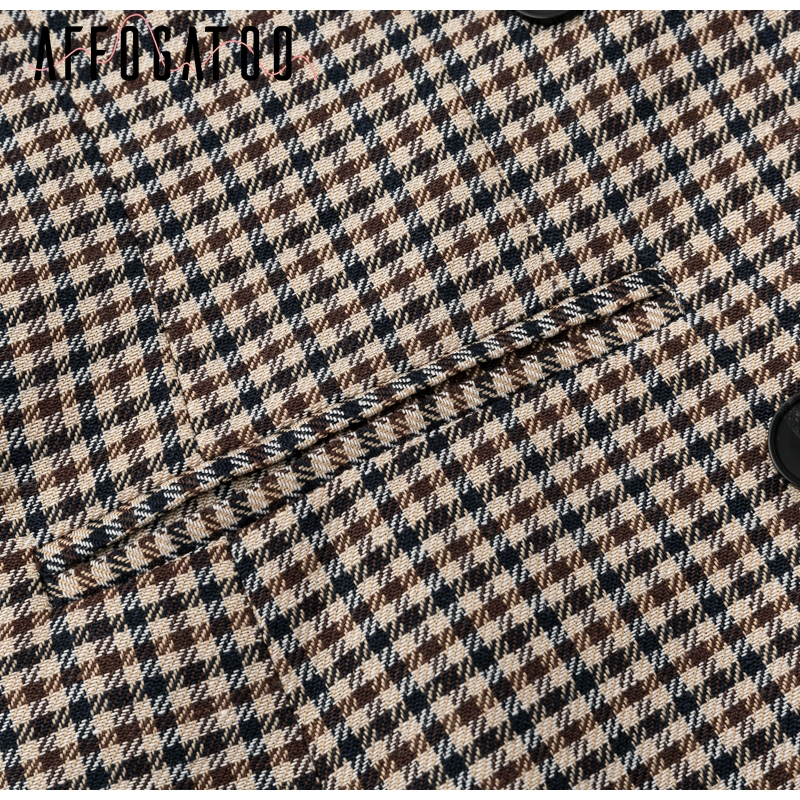 Affogatoo Fashion double breasted plaid blazer women Long sleeve slim OL blazer 18 Casual autumn jacket blazer female 12