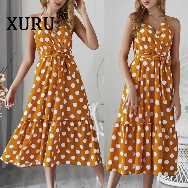 XURU Summer New Women 39 s Dress Polka Dot Sling Dress Bohemian Beach Holiday Dress in Dresses from Women 39 s Clothing