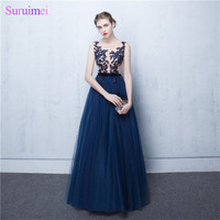 Long Robe De Soiree Grande Taille 2017 Sexy See Through Appliqued Evening Dresses Navy Blue Formal Evening Gown Prosses