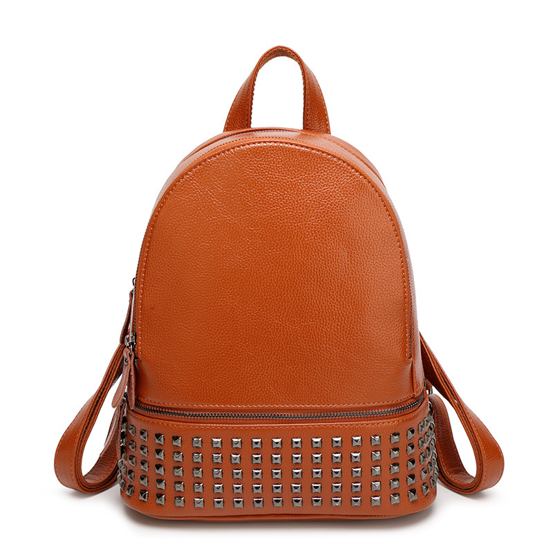 Fashion Women Leather Backpacks Rivet Schoolbags for Teenage Girls Female Bagpack Lady Small Travel Backpack Mochila Black Bags 2016 fashion women backpacks rivet soft sheepskin leather bags shoulder for teenage girls female travel bag free gift
