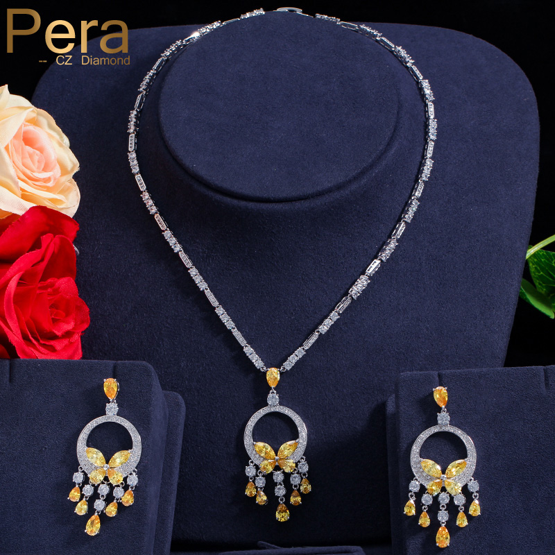 Pera Luxurious Big Yellow Stone Bohemian Women Wedding Party Jewelry Long Dangle Cubic Zirconia Necklace And Earrings Sets J214 pera elegant women pearl jewelry set for party gift big leaf shape cubic zirconia long dangle necklace and earrings j233