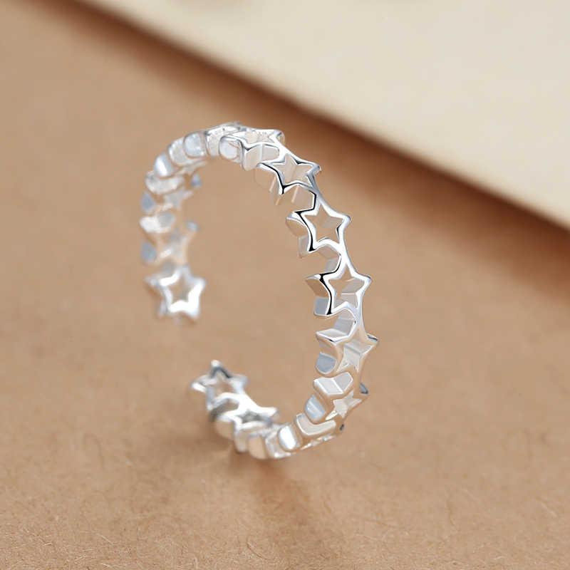 Кольца в богемном стиле, панк, настоящее 925 пробы, серебряная звезда, для женщин, массивные ювелирные изделия, большой полый палец, обручальное кольцо, вечерние, подарок