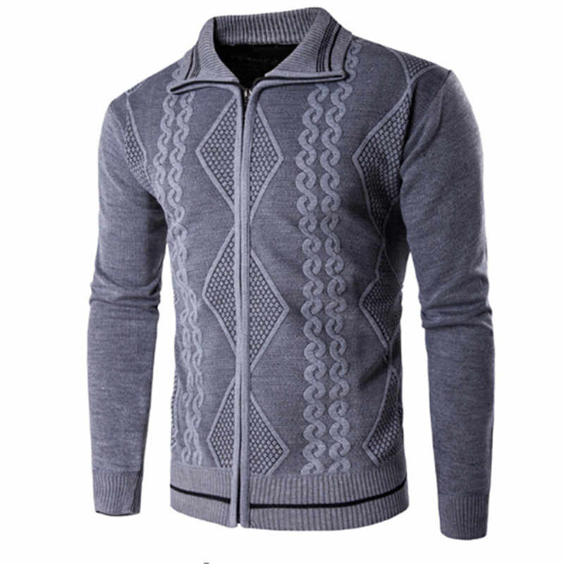 Высококачественный хлопковый приталенный мужской свитер повседневный мужской кардиган свитер уличная одежда зимний бренд серый кофейный темно-синий хаки