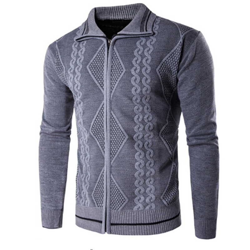 High Quality Cotton Slim Fit Man Sweater Casual Mens Cardigan Sweater Outdoors Outerwear Winter Brand Grey Coffee Navy Khaki
