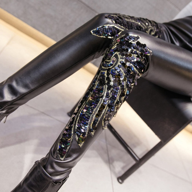 854e0891 Black Punk Gothic Women PU Leather Pants Stitching Embroidery Sequin Ladies  High Waist High Elastic Skinny PU Trousers Leggings