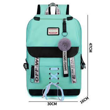 Large Green Backpacks Women School Backpack for Teenage Girls USB School Bag Canvas Middle Junior High College Student Bagpack