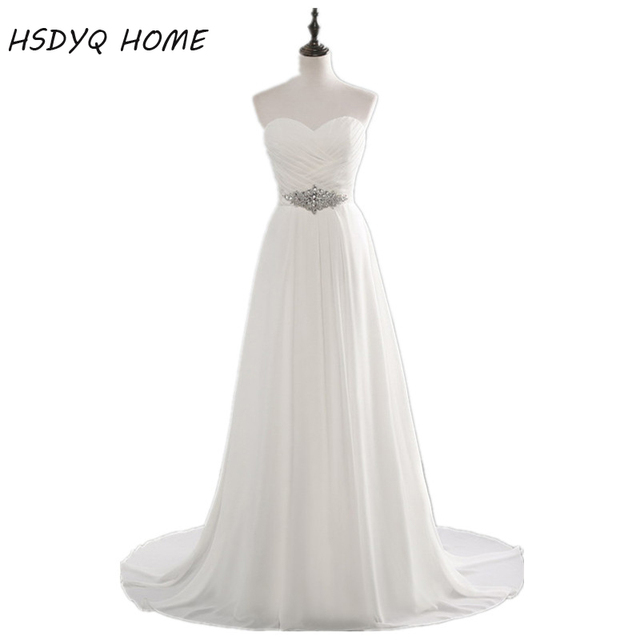 Cheap Vestido De Noiva Chiffon Wedding Dresses Beading Sweetheart Sleeveless Robe De Mariage Bridal Gown with Lace Up Casamento