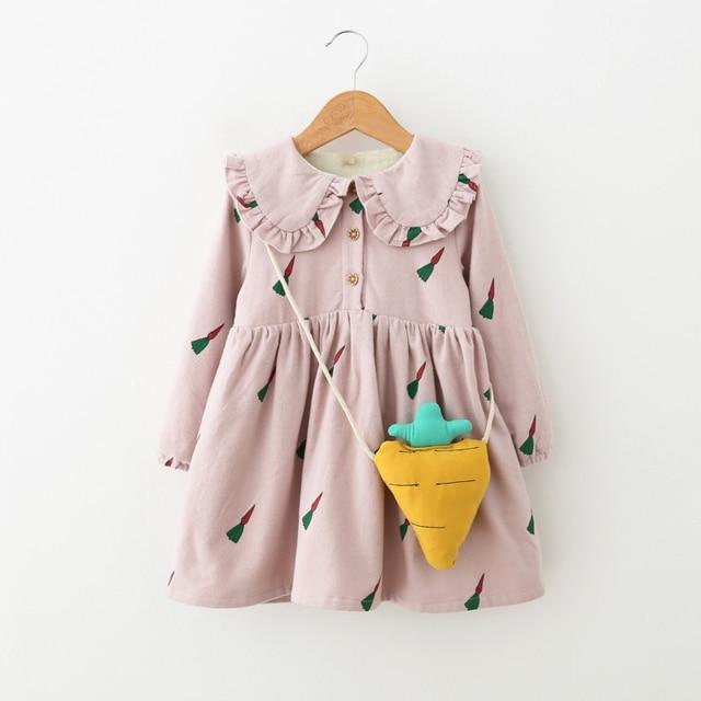 Дети Платье для девочек осень теплая одежда Детские хлопковые кашемировые платья для девочек детей морковь Платье с принтом для девочек 6 лет модный костюм